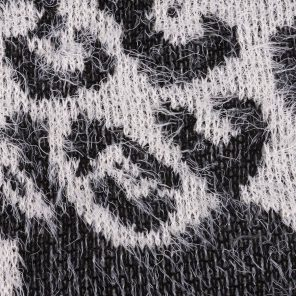White-Black  Knitted Hairy Fancy Fabric