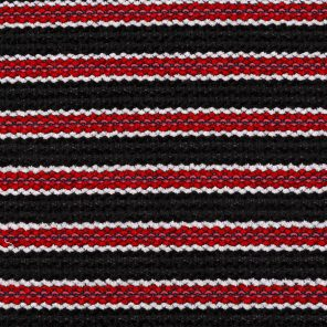 Black-White-Red Striped Chenille  Fabric