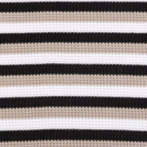 White-Beige-Black Striped Piquee Knitted Fabric