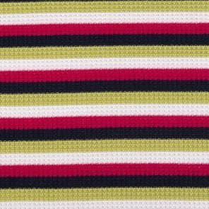White-Red-Green -Black Piquee Knitted Fabric
