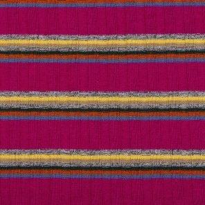 Blue-Yelow-Grey Melange Stripes On Pink Rib  Knitted Fabric