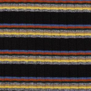 Yellow-Red-Blue-Grey Melange Stripes On Black Rib Knitted Fabric