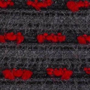Grey Hairy Knitted Fabric With Red Pom-Pom'S