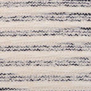 Navy-Ecru White Stripes Fancy Knitted Fabric