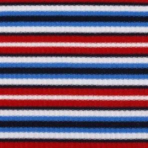 White-Blue-Red-Black Striped Rib Fabric