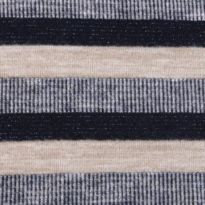 Beige-Blue-White-Black With Lurex Striped Knitted Fabric