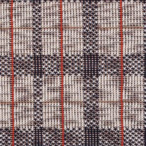White-Black-Red-Beige Check Dess. Jacquard Knitted Fabric
